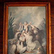SALE 19th Century Chromolithograph Of Nymphs With A Swan And Child, Circa 1850