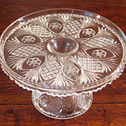 SALE Early American Pattern Glass Cake Stand, Circa 1910
