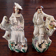 SALE Charming 19th Century Pair Of Staffordshire Figures, Circa 1870