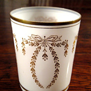 SALE Vintage Gilt Decorated French Opaline Glass Tumbler
