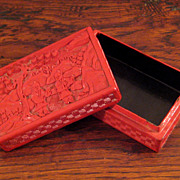 SALE Antique Chinese Red Cinnabar Box, Circa 1900