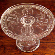 SALE Early American Pattern Glass Pedestal Cake Stand, Circa 1880