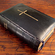SALE Early Vintage Black Leather Cover Prayer Book, Circa 1911