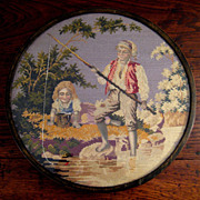 SALE Victorian Anglo-Indian Framed Needlepoint, Circa 1890