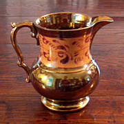 SALE 19th Century Large Copper Luster Pitcher, Circa 1880