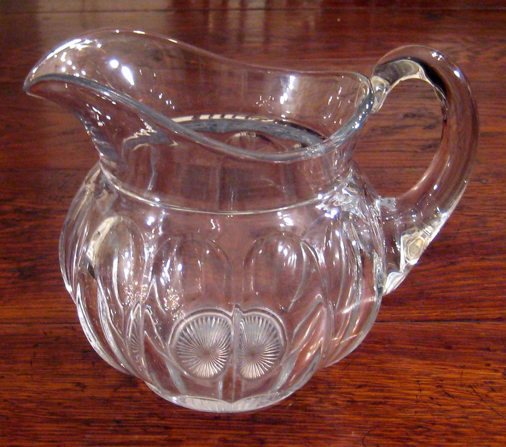 Large Early Vintage Signed Heisey Glass Pitcher