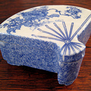 SALE Chinese Blue & White Porcelain Fan Box, Circa 1900