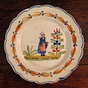 SALE French Faience Quimper Breton Woman Plate, Circa 1900