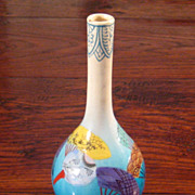 SALE Vintage Japanese Enameled Awaji Vase, Circa 1910