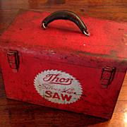 SALE Vintage Metal Tool Box With Leather Handle, Circa 1950