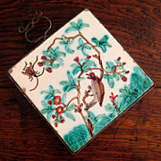 SALE 19th Century Iron Trivet With A Majolica Tile, Circa 1860