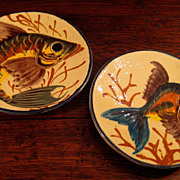 SALE Pair Of Early Vintage Majolica Glazed Redware Fish Plates