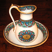 SALE Early 19th Century Ridgway Ironstone Child's Wash Bowl & Pitcher, Circa 1820