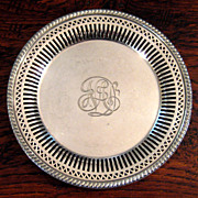 SALE Vintage Gorham Silver Plate Wine Coaster, Circa 1920