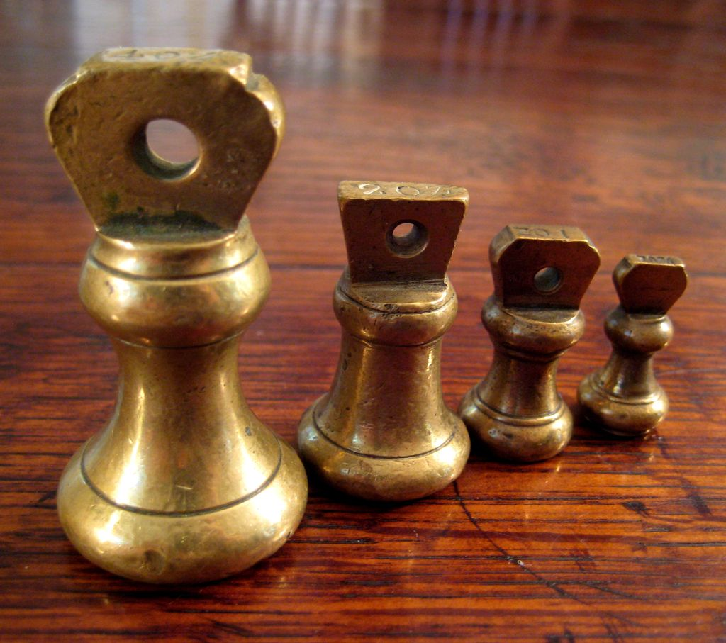 19th Century Brass Weight Set, Circa 1880