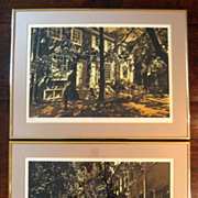 SALE Pair Of Vintage Framed Signed Limited Edition Philadelphia Lithographs