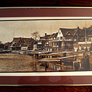 SALE Large Vintage Signed Philadelphia Boat House Row Lithograph