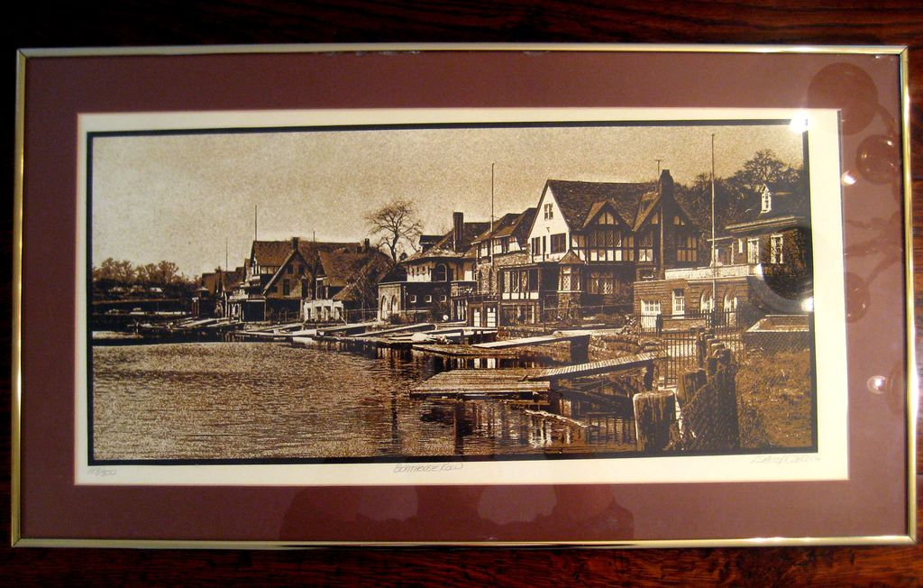 Large Vintage Signed Philadelphia Boat House Row Lithograph