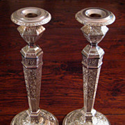 SALE Pair Of 19th Century Silver Plate Candlesticks, Circa 1890