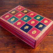 SALE Vintage Gilt Decorated Italian Red Leather Box, Circa 1950