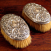 SALE Pair Of Antique British Sterling Silver Cloths Brushes, Circa 1900
