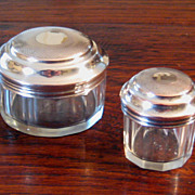 SALE Pair Of Vintage Silver Plate & Crystal Vanity Jars, Circa 1920