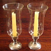 SALE Vintage Pair Of Sterling Silver Candle Holders With Glass Hurricanes, Circa 1960