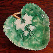 SALE Early 19th Century Majolica Leaf Plate, Circa 1850