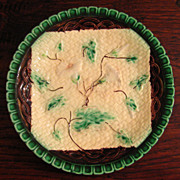 SALE Early 19th Century Majolica Morning Glory Plate, Circa 1850