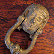 SALE Large Vintage Cast Iron King Tut Door Knocker, Circa 1920