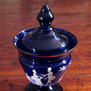 SALE Antique Cobalt Glass Mary Gregory Covered Pedestal Jar, Circa 1900