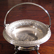 SALE 19th Century Derby Silver Company Handled Basket, Circa 1880