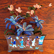 SALE Chinese Enamel Planter With Original Glass Beaded Flowers, Circa 1900