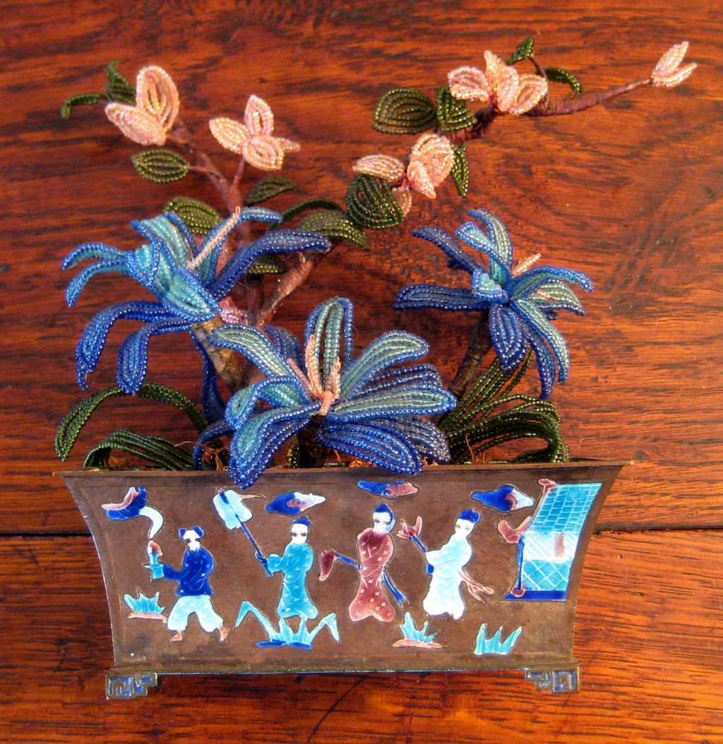 Chinese Enamel Planter With Original Glass Beaded Flowers, Circa 1900