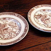 SALE Pair Of 19th Century Staffordshire Brown & White Child's Plates, Circa 1870