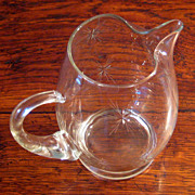 SALE Vintage Mid-Century Cut Glass Juice Pitcher, Circa 1960