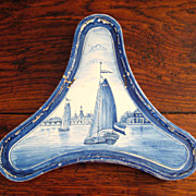 SALE 18th Century Dutch Delft Footed Tray