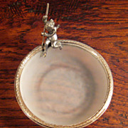 SALE Vintage French Frosted Crystal Ring Dish With Silver Plate Putti