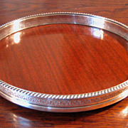 SALE Vintage Silver Plate Gallery Tray With Mahogany Formica Bottom
