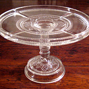 SALE Early American Pattern Glass Pedestal Cake Stand