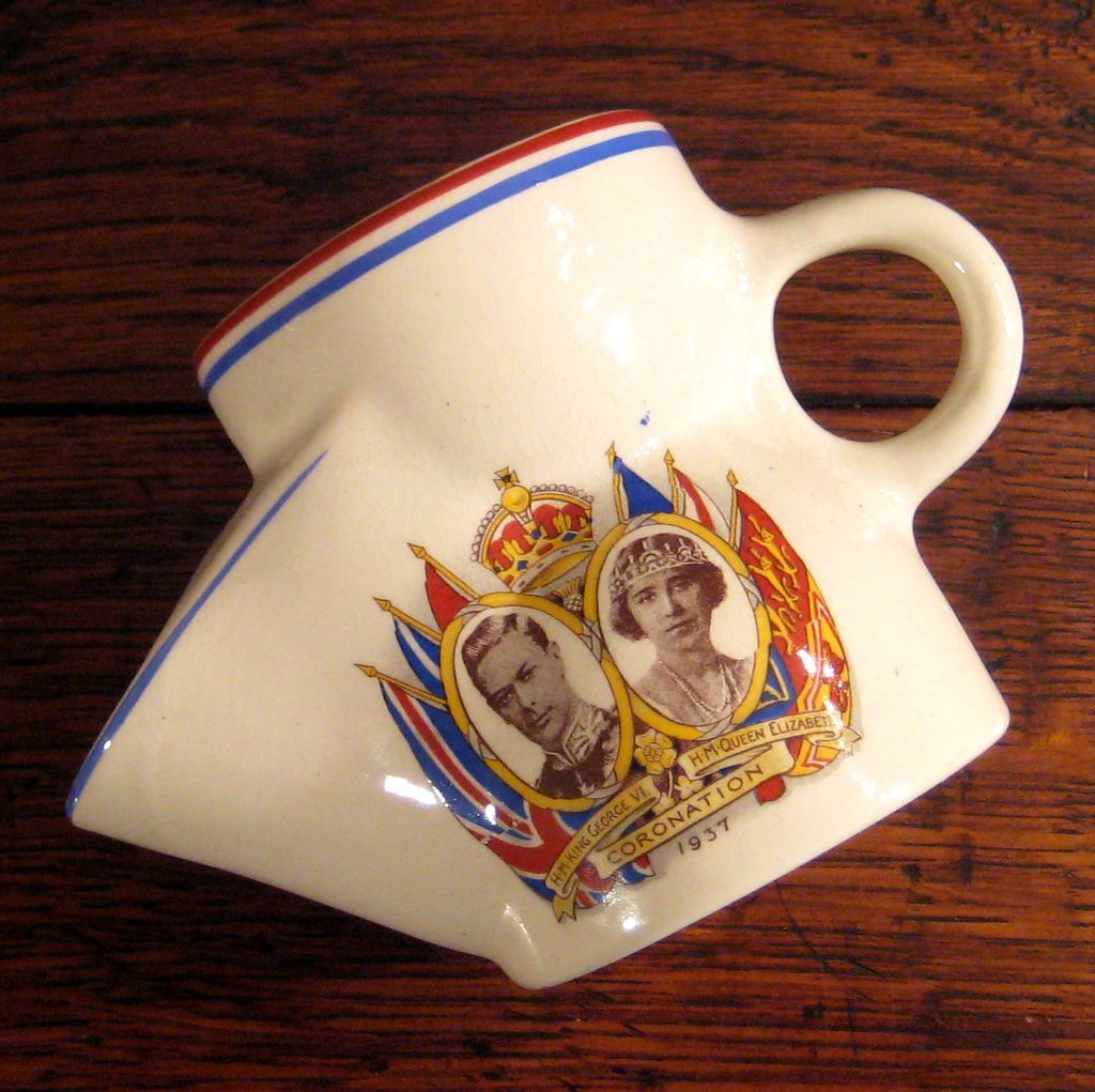 King George VI Coronation Shaving Mug Scuttle Cup, Circa 1937