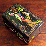 SALE Vintage Japanese Black Lacquer Music Box, Circa 1950