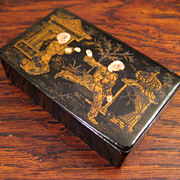 SALE 19th Century Chinoiserie Lacquered Stamp Box, Circa 1880