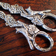 SALE Pair Of Vintage Ornate Silverplate Grape Scissors, Circa 1930