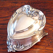 SALE Vintage Silverplate Heart Shaped Jewel Box, Circa 1950