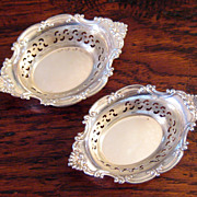 SALE Pair Of Vintage Gorham Pierced Sterling Silver Nut Dishes