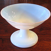 SALE Vintage French White Opaline Pedestal Bowl, Circa 1950