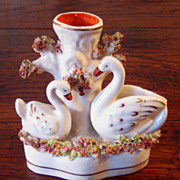 SALE 19th Century Staffordshire Spill Vase With Two Swans, Circa 1870