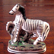 SALE Rare 19th Century Staffordshire Zebra Figure, Circa 1870