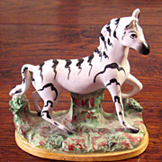SALE Antique Staffordshire Pottery Figure Of A Zebra, Circa 1910